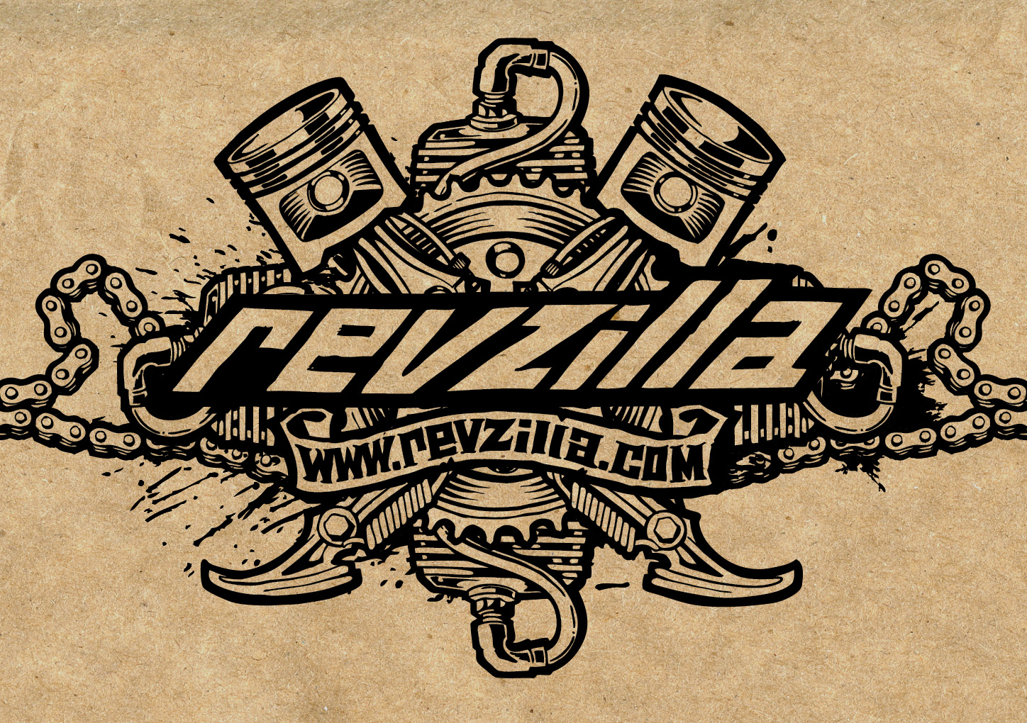 One color Revzilla logo on cardboard background