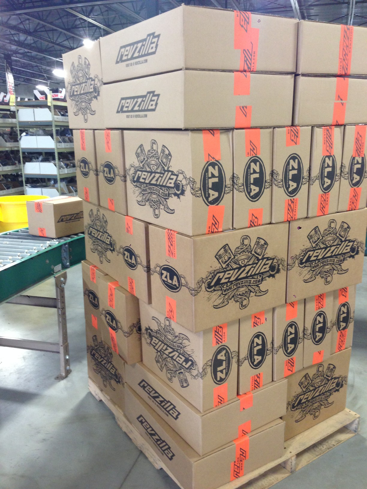 Revzilla Shipping cartons stacked on a palette